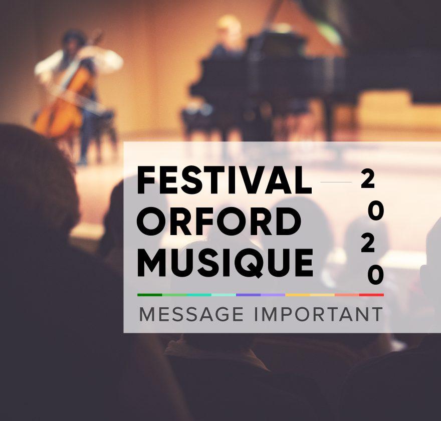 Festival Orford Musique 2020 annulé